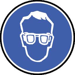 Icône bleu rond protection lunette à télécharger gratuitement