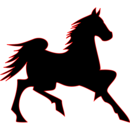 Animals Horse Flame Outline on 02 Cavalier Black