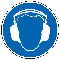Icône bleu pictogramme protection oreille à télécharger gratuitement